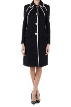 Coat GABARDINE with Leather Details
