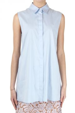 Camicia Smanicata in Popeline Stretch