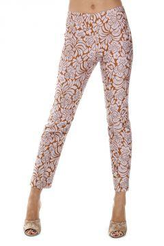 Pantaloni Capri in Misto Cotone Cotone con Ricami Floreali