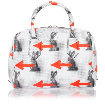 Leather Printed Bowling Handbag
