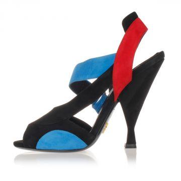 Sandalo Multicolor in Camoscio Tacco 12 cm