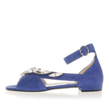 Suede Flat Sandal with applied Jewellery
