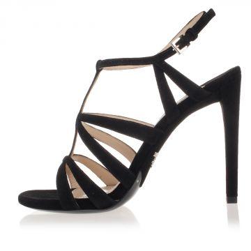 Suede Cage Sandals Heel 12 cm