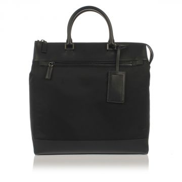 Fabric and Leather Shopping Bag