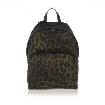 Leopard Printed Fabric Backpack