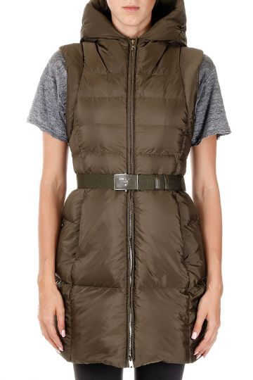 Sleeveless Down Coat with Belt