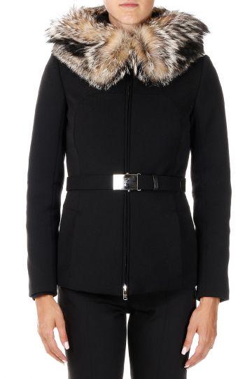 High-tech fabric Coat with Real Fox Fur Hood