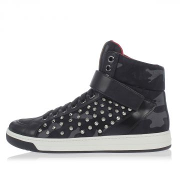 Leather and Camouflage Fabric Sneakers with Studs
