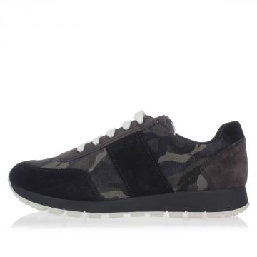 Sneakers in Pelle e Tessuto Camouflage