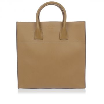 Saffiano Cuir Leather Shopping Bag