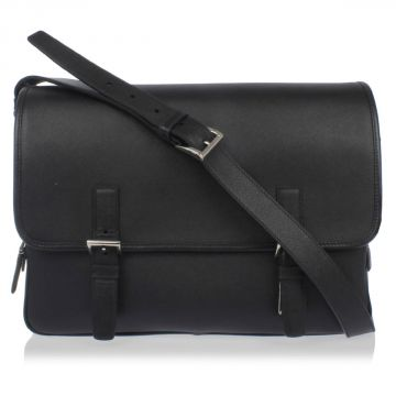 Saffiano Travel Leather Messenger Briefcase Bag