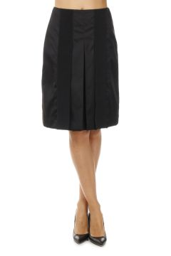 Pleated Gabardine Skirt