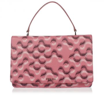 Printed Saffiano Leather Hand Bag