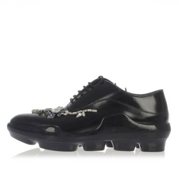 Brushed Leather laced Shoes whit strass
