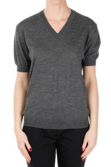 V neck Short Sleeves Sweater