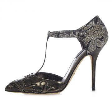 Embroidery Leather Pumps 10 cm