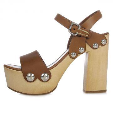 Sandalo in Pelle con Tacco 10 cm