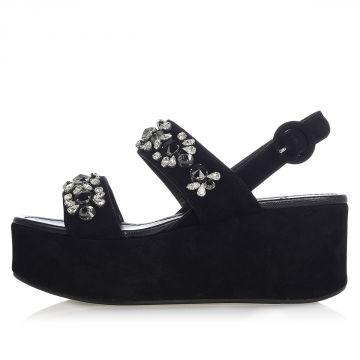 Sandalo in Pelle Scamosciata con Plateau 7 cm