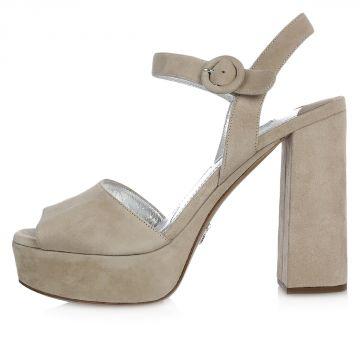 Sandalo in Pelle Scamosciata con Plateau 10 cm