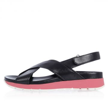 Leather Sandals with Bicolor Sole