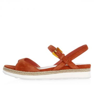 Suede Sandals With Crossed Strap