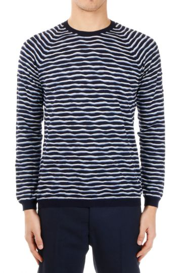 Striped Pattern Virgin Wool Sweater