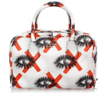 Printed Leather Bowling Bag