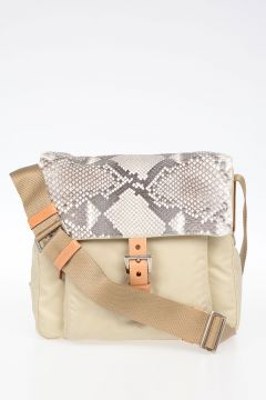 Borsa in Nylon con Pattina in Pitone