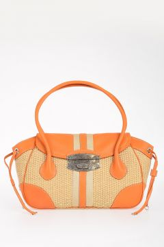 Leather and Straw Bag