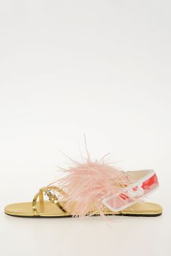 Sandals with Feathers Applied