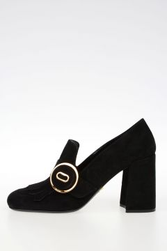 Suede Heeled Loafers