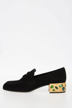 Loafers with Jewelled Heel