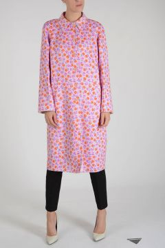 Printed Virgin Wool Blend Coat