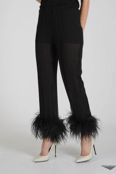 Chiffon Pants with feathers
