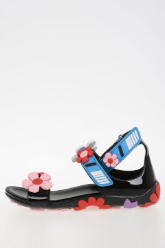 Rubber Leather Sandals with Flower