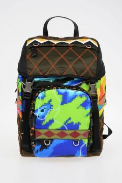 Printed Nylon Backpack with Leather Details