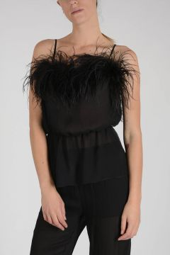 Silk Top with feathers