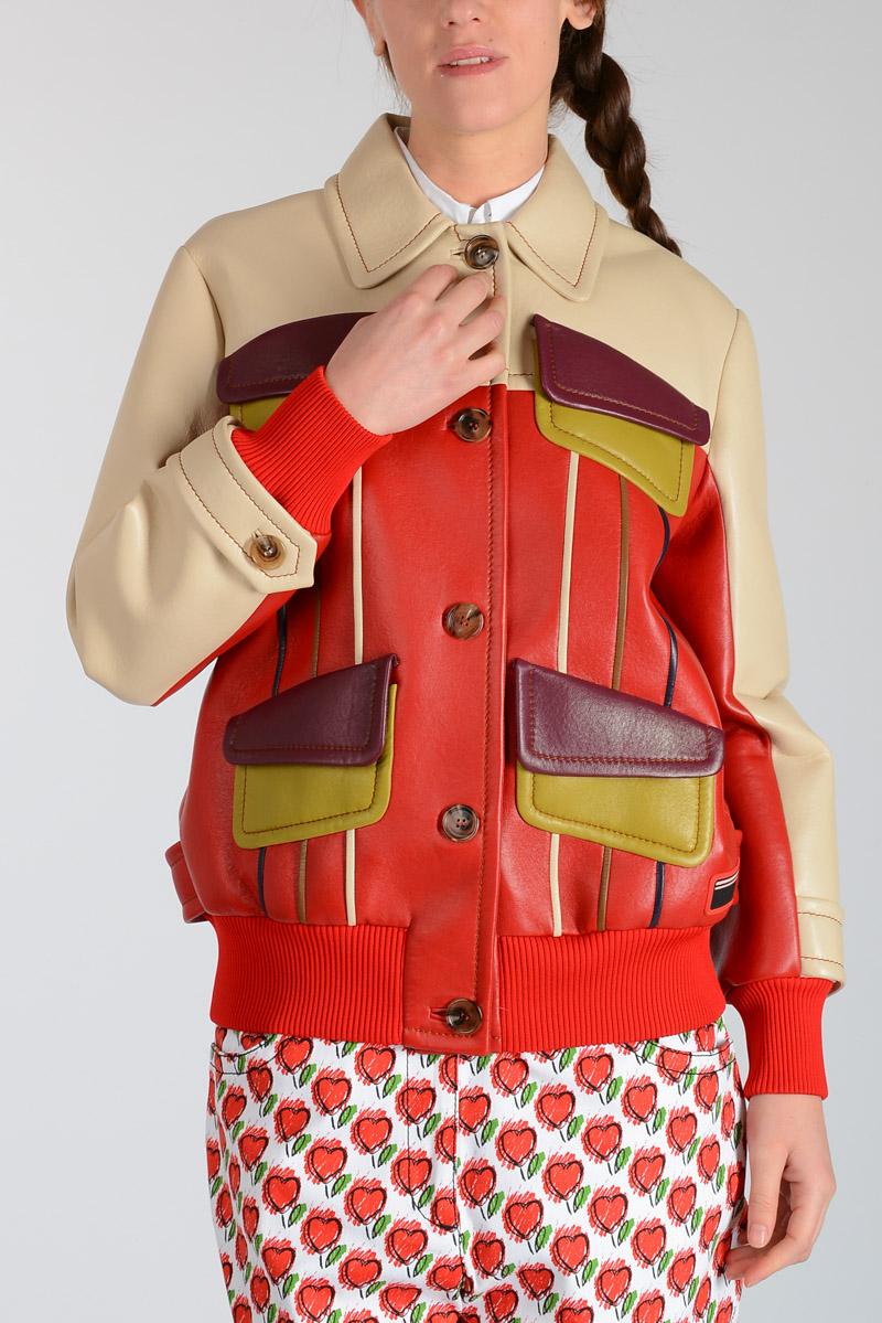 5faf6174c541 Prada Women Leather Jacket - Glamood Outlet