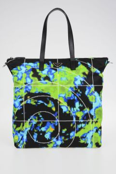 Borsa Shopping in Nylon Stampa Radar