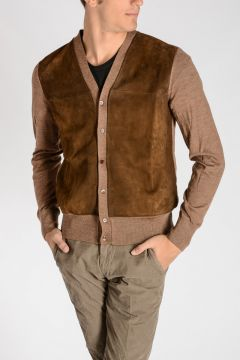 Leather Wool Cardigan