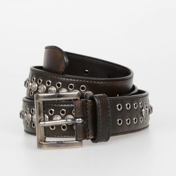 30mm Leather Studded Belt