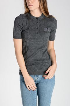 Wool Short Sleeve Henley Sweater