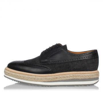 Brushed Leather denim Laced Shoes