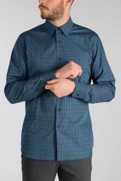 Geometric Pattern Cotton Poplin Shirt