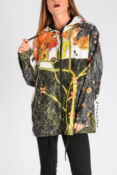 Hooded Printed Silk-Faille Jacket