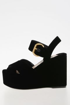 Velvet Wedge Sandals 11.5 cm