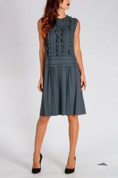 Ruffled Crepe Sablè Dress
