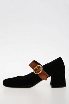 Leather and Velvet Sandals Shoes 6 cm