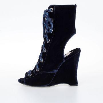 Velvet Wedges Boots