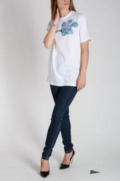 T-Shirt in Cotone con Fiore in Faille Ricamato